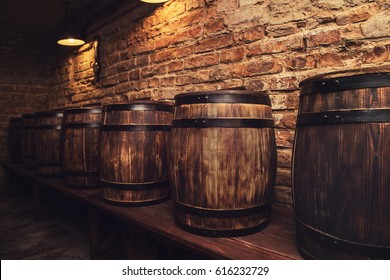 Homemade barrels in the wine cellar
