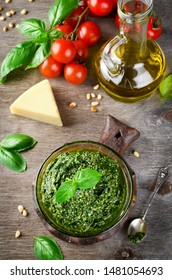 Homemade basil pesto with pine nuts, parmesan and garlic.