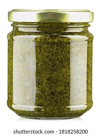 Homemade basil pesto sauce in glass jar on white background. File contains clipping path.