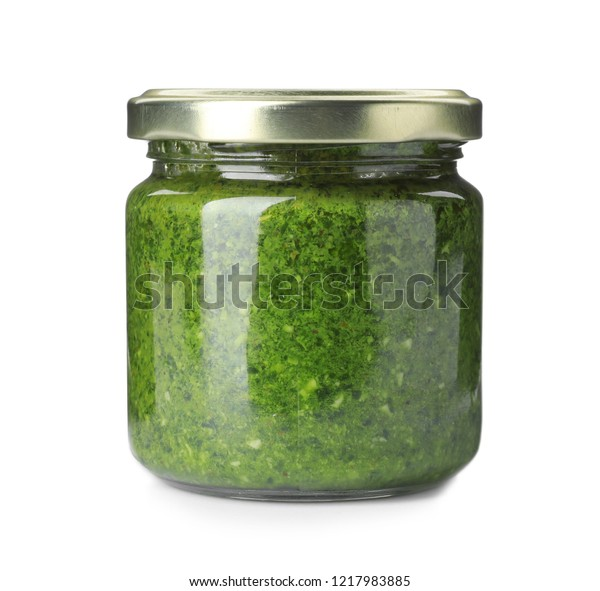Homemade Basil Pesto Sauce Glass Jar Stock Photo Edit Now 1217983885