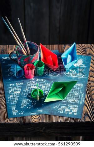 Homemade Battleship Paper Game Coloured Ships Stock Photo (Edit Now