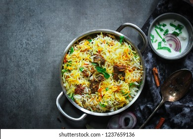 Homemade Beef Biryani served with yogurt dip