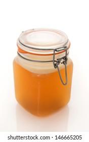 Homemade Beef Bone Broth in Glass Storage Jar
