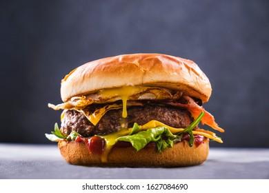 Homemade beef burger. Delicious fastfood. Closeup