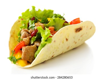 Homemade beef burrito with vegetables and tortilla, isolated on white