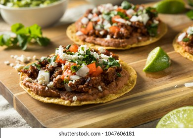 Homemade Beef and Cheese Tostadas with Lime and Cilantro