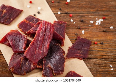 Homemade Beef Jerky Background. Selective focus.