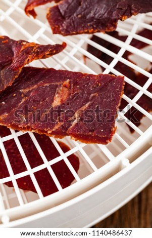 Homemade Beef Jerky Dehydrator Selective Focus Stock Photo