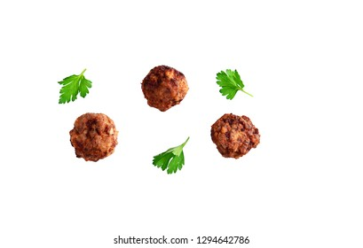 Homemade beef meatball isolated on white without shadows