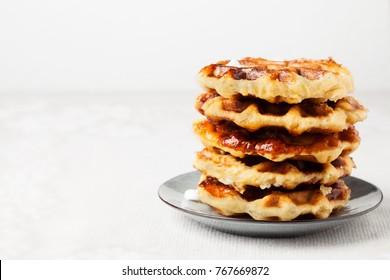 Homemade Belgian Liege or sugar waffles prepared with pearl sugar