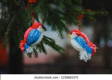 Homemade birds, craftwork.