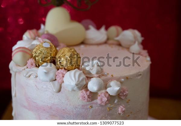 Wondrous Homemade Birthday Cake Decorated Meringue Cookies Stock Photo Funny Birthday Cards Online Overcheapnameinfo