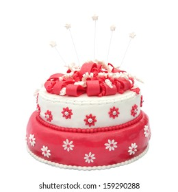 Homemade birthday cake with stars isolated on white