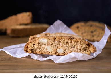 Homemade Biscotti Cantuccini Italian Almond Sweets Biscuits Cookies on Wooden Background Dessert