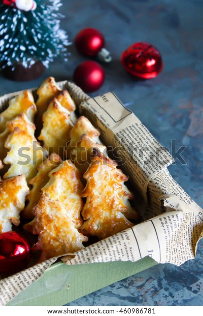 Homemade biscuits cookies in the shape of Christmas trees. Happy New Year 2017