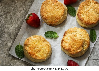 Homemade Biscuits with nice golden brown crust top down view