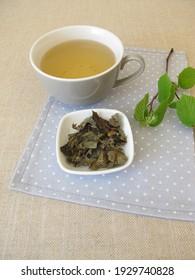 Homemade black tea with fermented hazel leaves