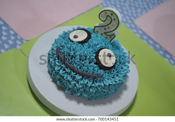 Admirable Homemade Blue Monster Birthday Cake Stock Photo Edit Now 700143451 Funny Birthday Cards Online Fluifree Goldxyz