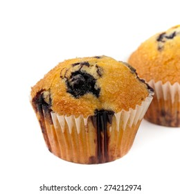 Homemade Blueberry Muffin on White Background. Macro. Selective focus.