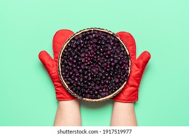 Homemade blueberry pie, freshly baked, held in hands with oven mitts, isolated on green colored background. Flat lay with blueberries pie. Fruit cake.
