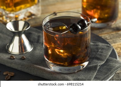 Homemade Boozy Coffee Old Fashioned with Bourbon and Cherries