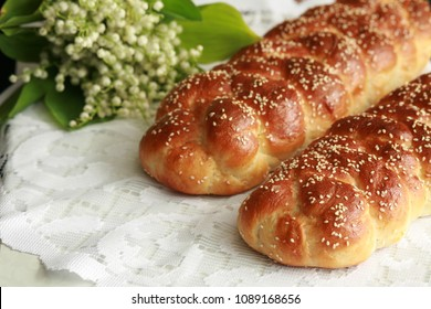 Homemade braided challah for Shabbat