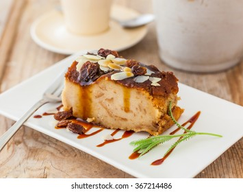 Homemade bread pudding on a rustic table