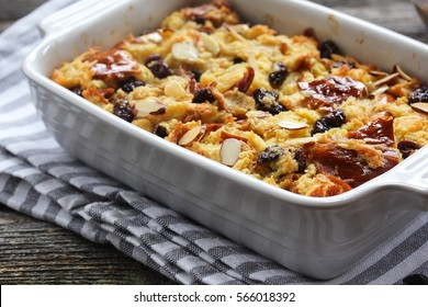 Homemade bread pudding  with raisins and orange juice, selective focus