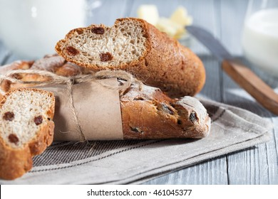 Homemade bread with raisin which served with butter and milk