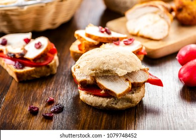 Homemade bread and roasted chicken breast with peppers and cranberries - a great sandwich
