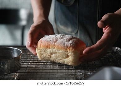 Homemade bread roll baking in bakery shop