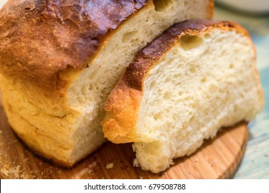 Homemade bread slices on table