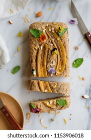 Homemade breakfast or tea snacks / Vegan Banana Bread with Edible Flowers / Delicious and healthy light eats packed with vitamins and minerals, good for weight watcher dieter