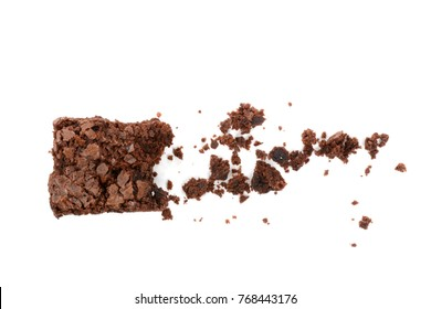 Homemade brownie and crumbs isolated on a white background