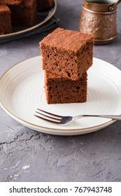 Homemade brownies with dark chocolate.