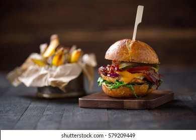 homemade burger with grilled turkey