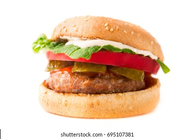 Homemade burger isolated on the white background.