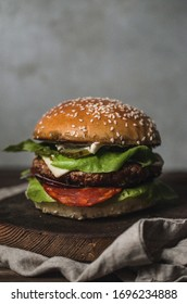 Homemade burger with vegetables and onion