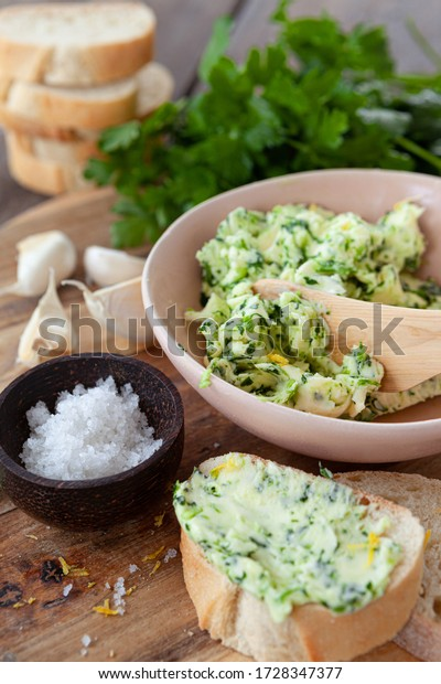 Homemade butter with fresh parsley and garlic