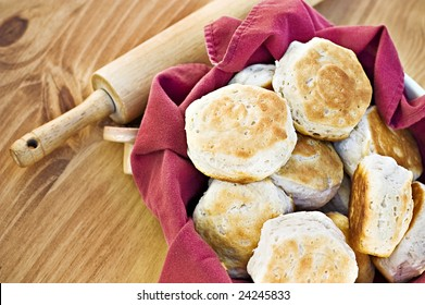 Homemade buttermilk biscuits and rolling pin