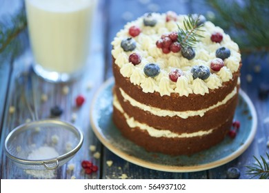 Homemade cake with cottage cheese cream and berries