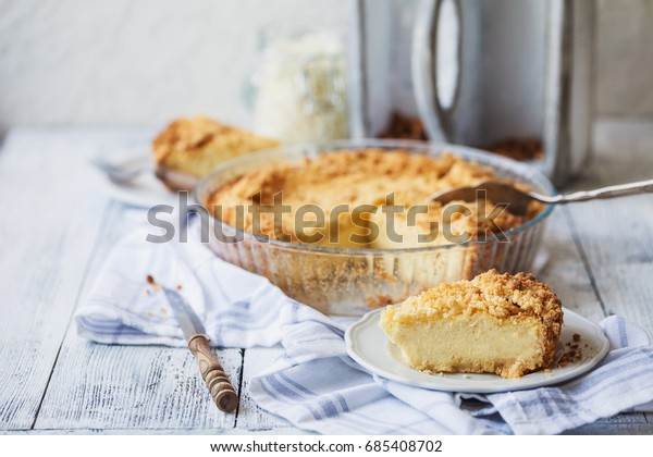 home-made cake with curd, pudding