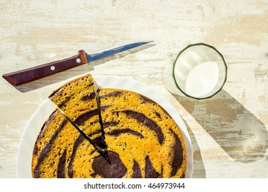 home-made cake with milk for breakfast