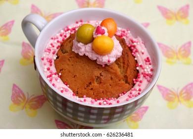 a homemade cake in a mug