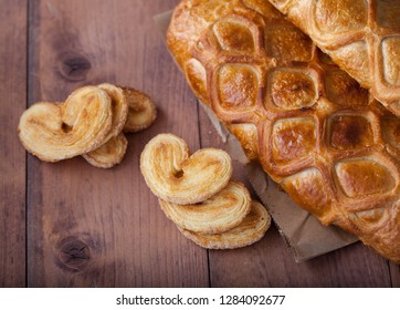 homemade cake and pastries in the shape of a heart