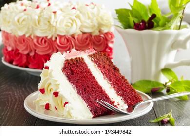 "Homemade cake ""Red Velvet"" decorated with cream."