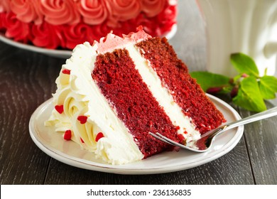 "Homemade cake ""Red Velvet"" decorated with cream."