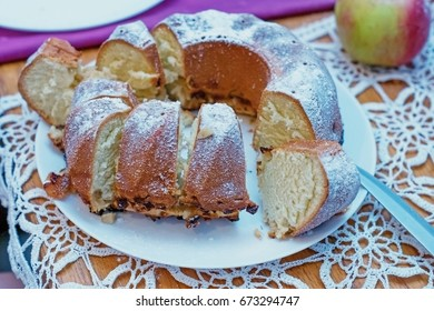 Homemade cake sliced on a plate. - Shutterstock ID 673294747
