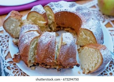 Homemade cake sliced on a plate. - Shutterstock ID 673294750