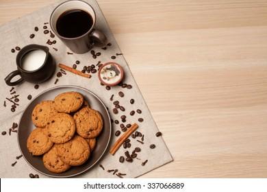 Homemade Cakes Oatmeal Cookies With Chocolate Crumbs